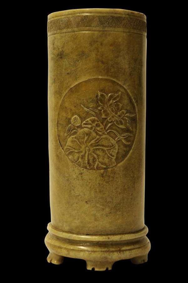 A Rare Chinese Carved Soap Stone Brush Pot