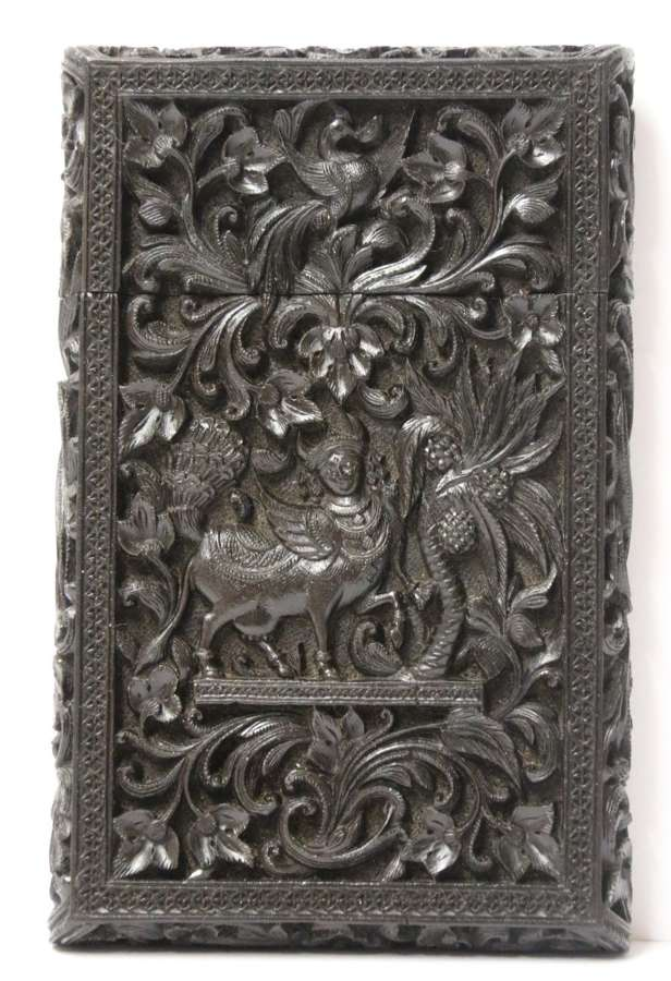 An Exceptional Indian Raj Period Carved Ebony Calling Card Case
