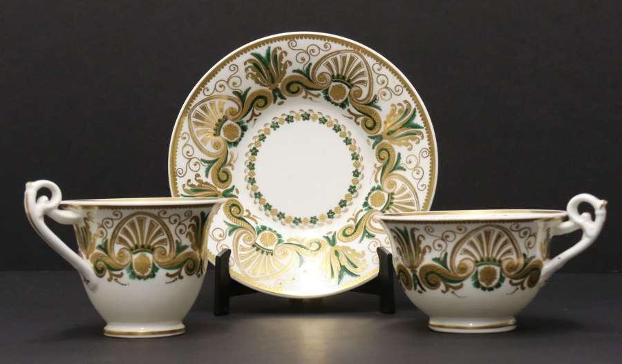 A Rare Early 19th C  Spode Cabinet Trio, Circa 1825