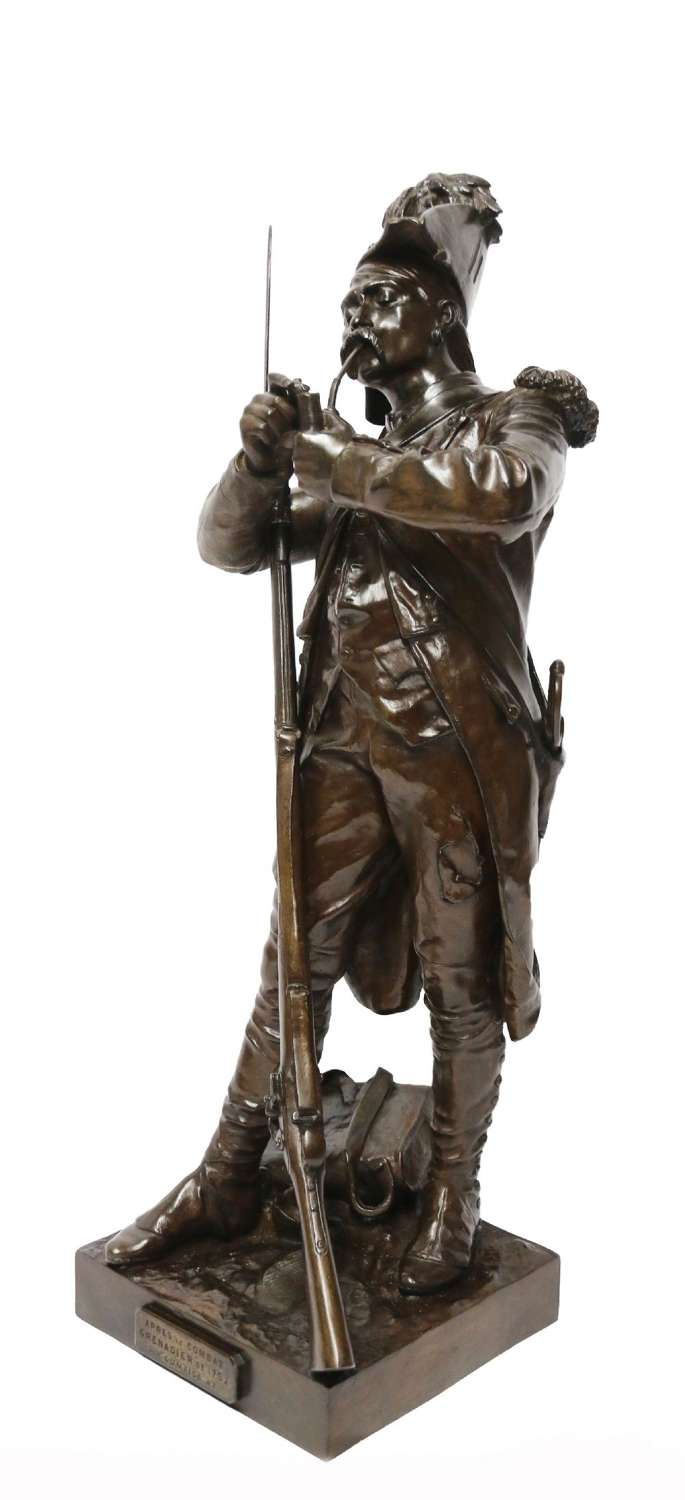 A Fine Large French Bronze Study Of A Napoleonic Period Soldier By E.H. Dumaige.