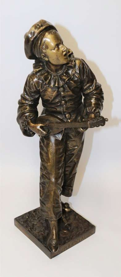 A Fine French Bronze Sculpture Of A Pierrot Singing And Playing The Lute By Bornet.