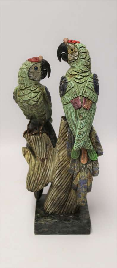 Large Chinese  Soapstone Sculpture Of A Pair Of Parrots.