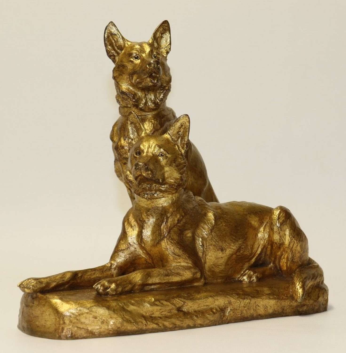 A Fine French Gilt Bronze Study Of Two German Shepherd Dogs By Louis Riche