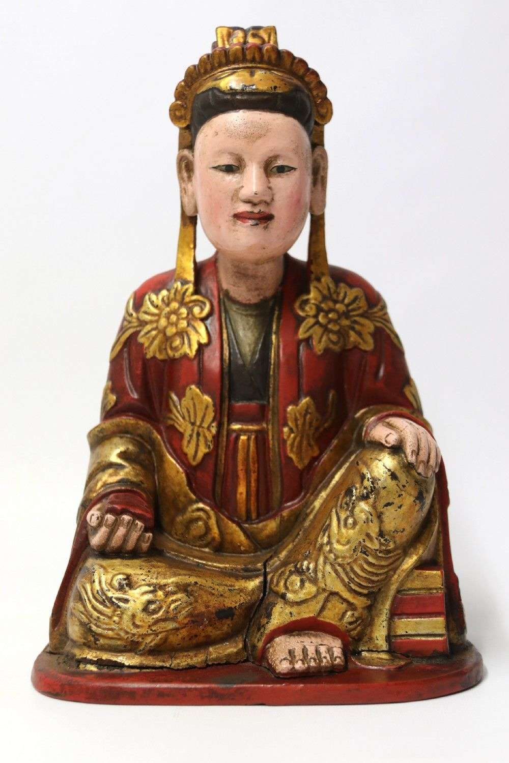 Highly Decorative Carved Wooden Figure Of A Seated Chinese Man Circa 1890