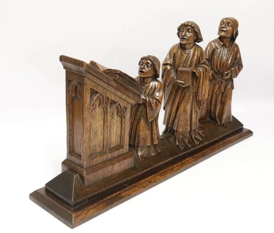 A Fine 19th Century Arts And Crafts Carved Oak Figure Group Of Three Monks