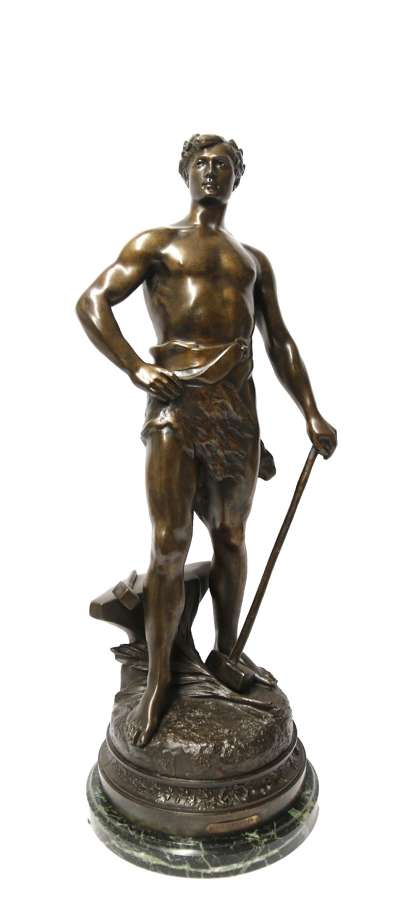 A Fine Large Spelter Study Of A Blacksmith By C.H Perron