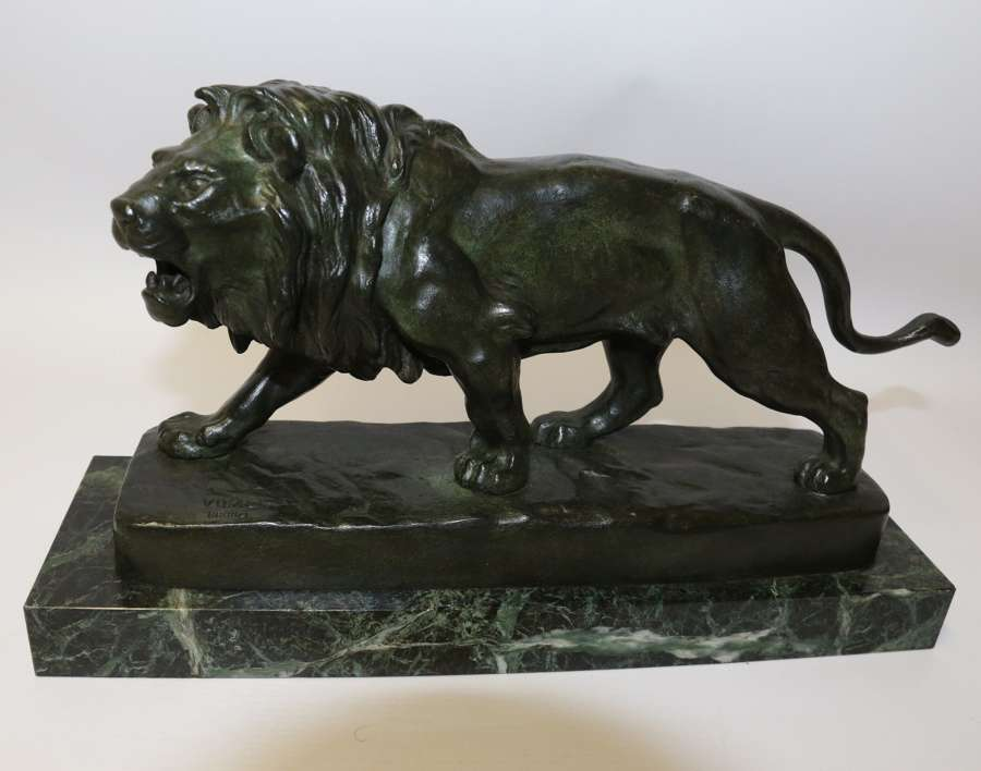 A Late 19th C French Bronze Study Of A Lion By Vidal