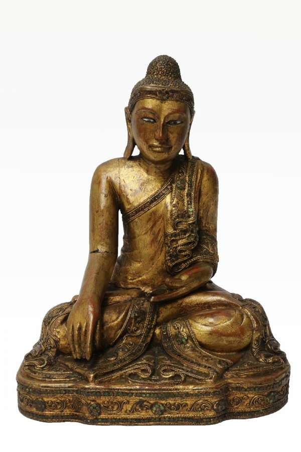 A 19th C Asian Carved Gilt Wood Buddha