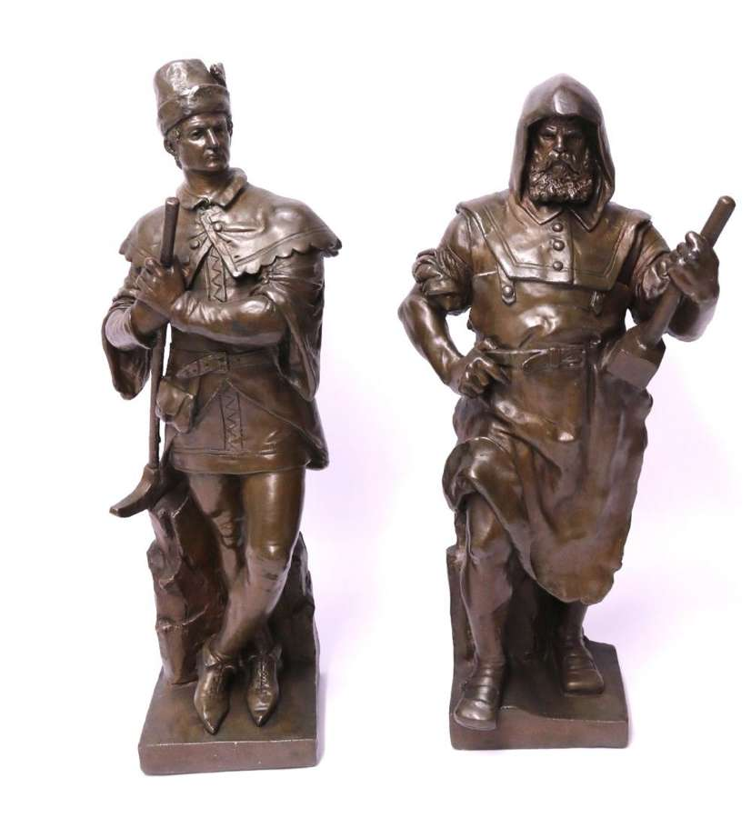 A Large Pair Of Electrotype Bronze Figures By C Dopmeyer
