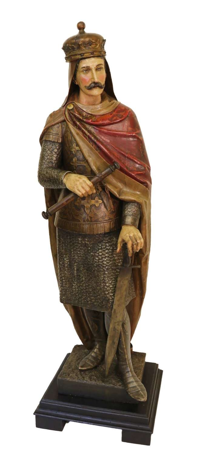 19th C Carved Pine Polychrome Painted Life Size Model Of A Medieval King