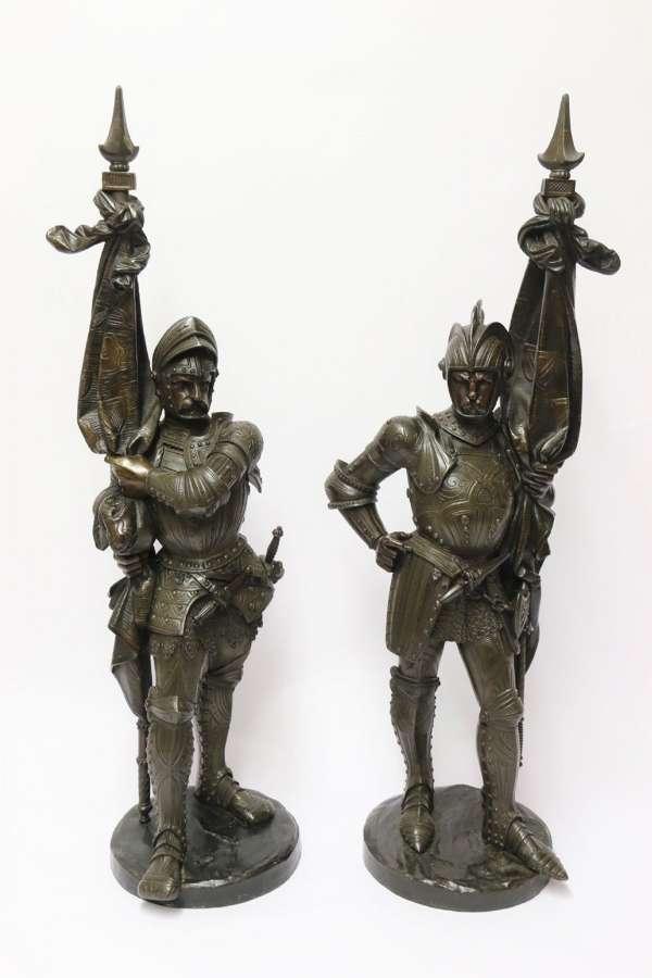 Superb Pair Mid 19th C Bronze Knights, Circa 1860