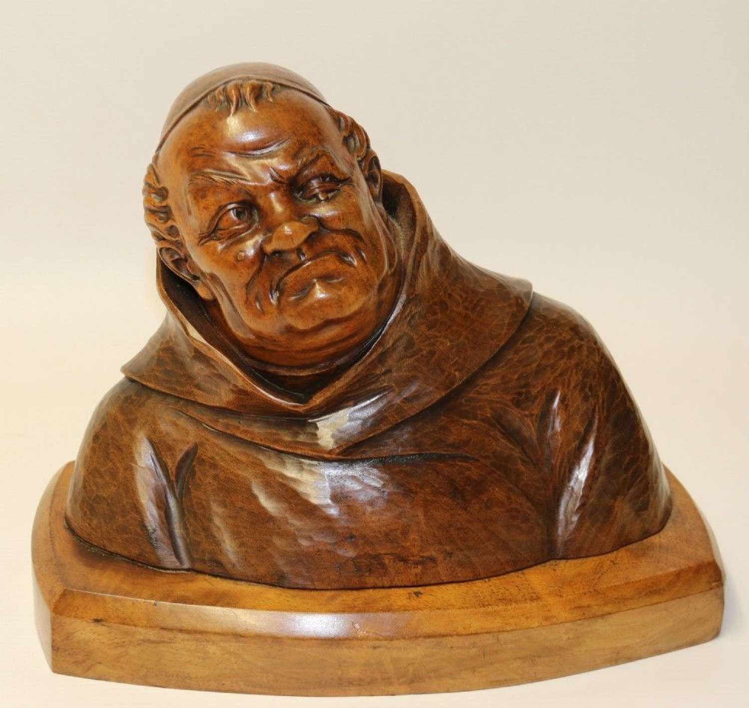 A Superb Black Forest Carved Walnut Study Of A Monk.
