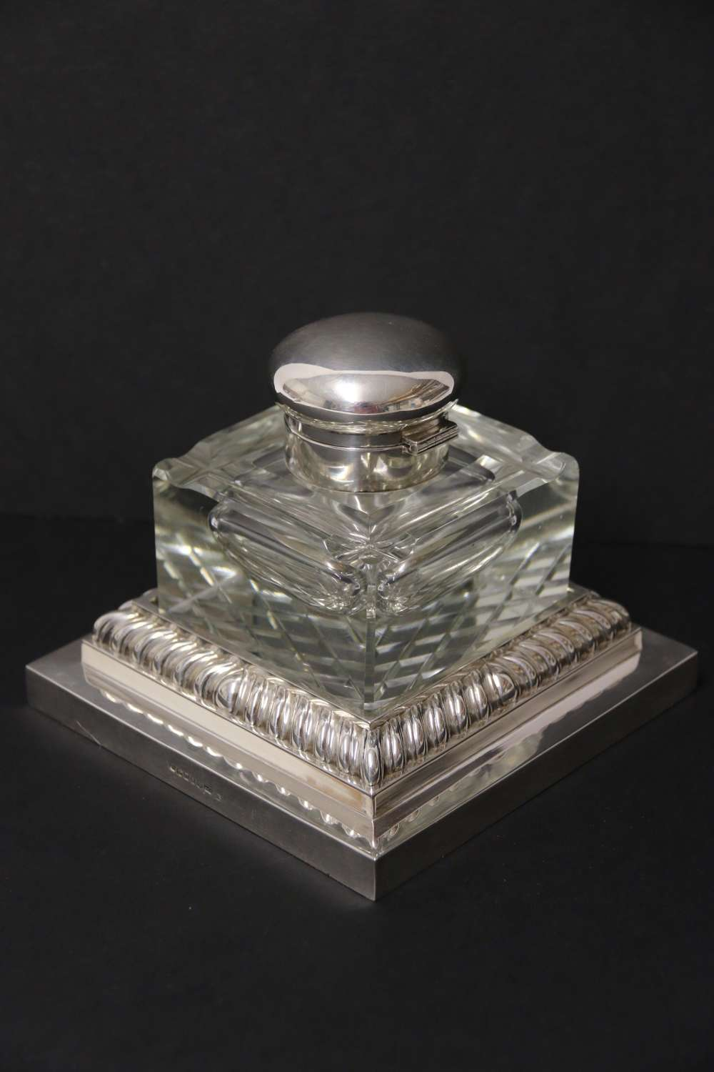 Large Silver Plated And Cut Glass Desk Inkwell  C 1910