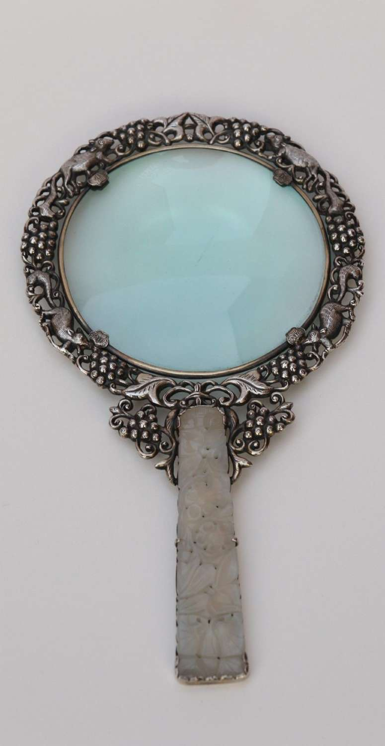 A Rare 19th Century Chinese Silver And Jade Magnifying Glass.
