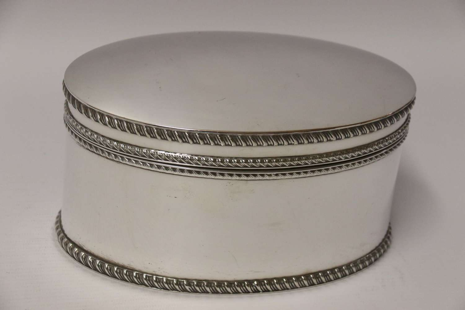 A Superb Quality Silver Plated Domed Oval Box