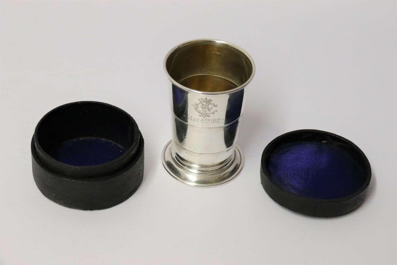 An English Silver Folding Hunting Cup Circa 1912