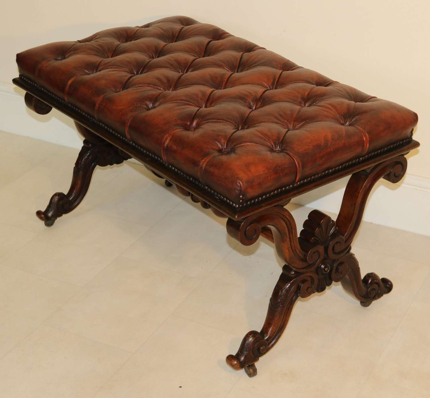 A Large English 19th C Carved Walnut Stool