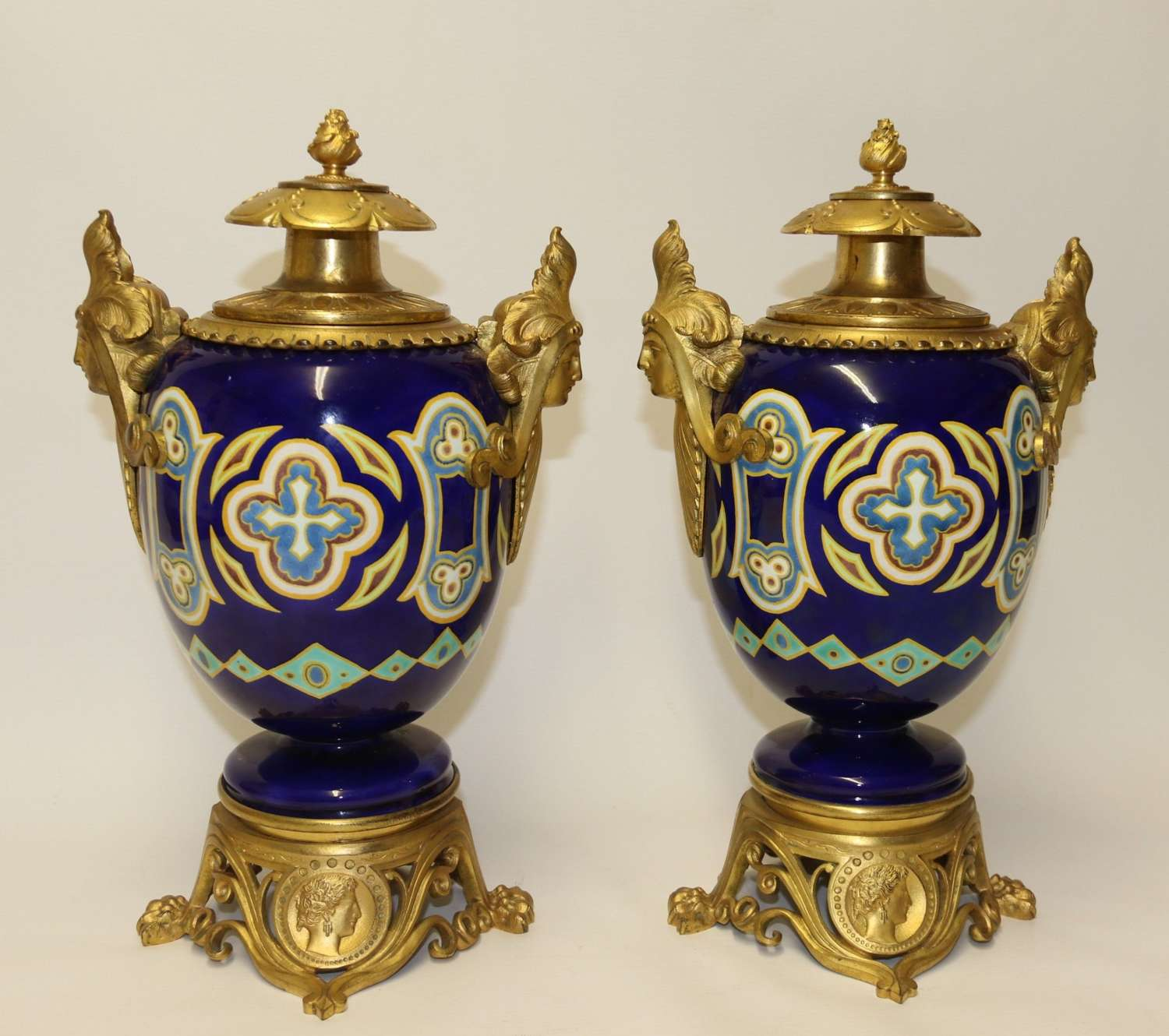 A Superb Pair Of Gilt Bronze And Pottery Aztec Design Vases/urns