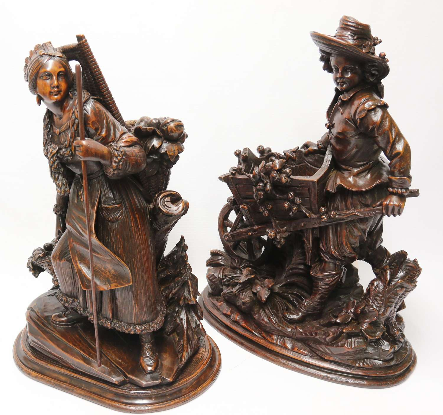 19th century pair of antique Horticultural Black Forest Figures