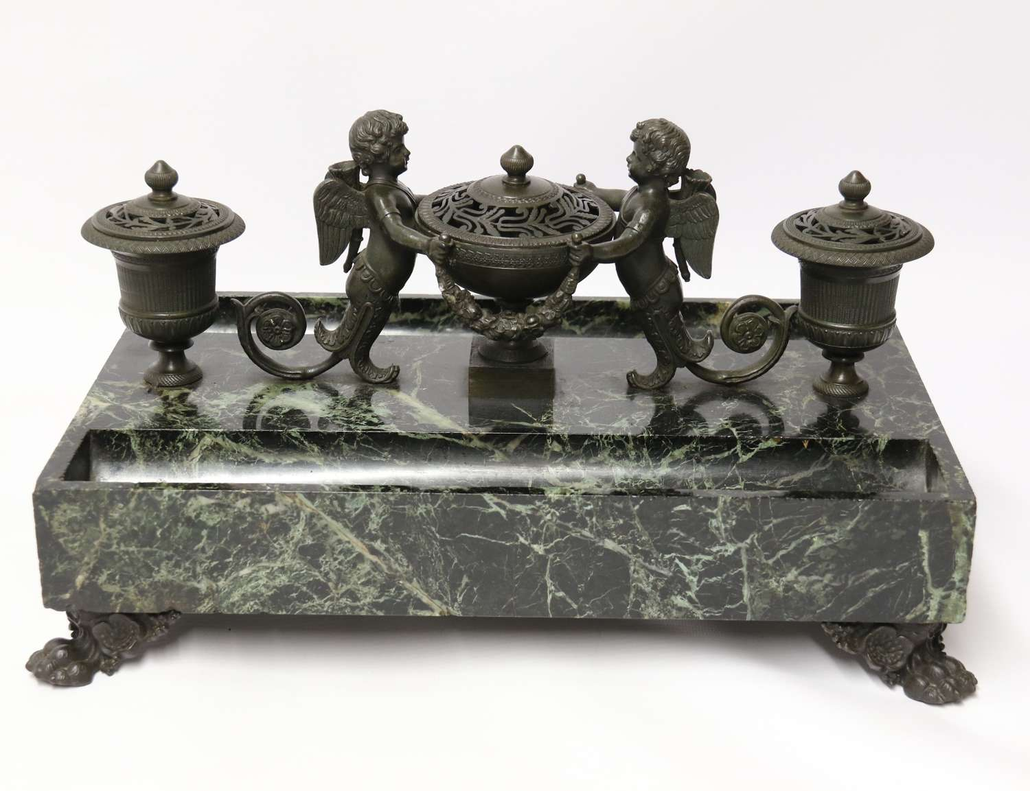 Empire bronze and marble desk top inkstand by Lefebvre of Belgium