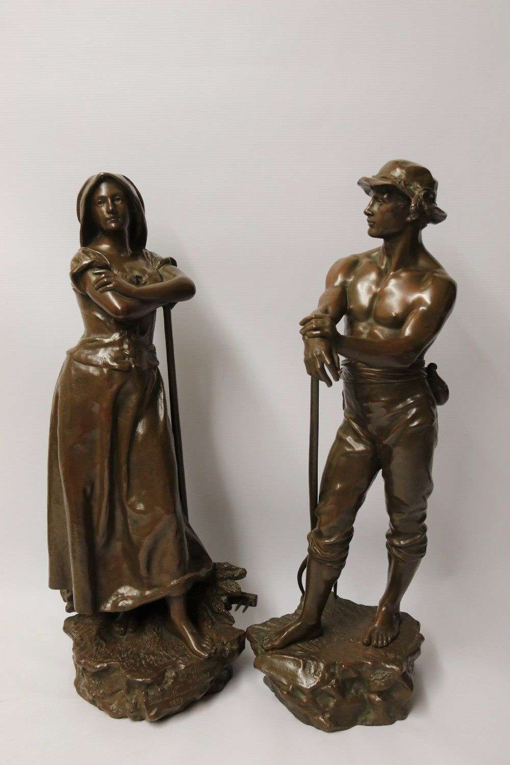 A Beautiful Pair Of Large Bronze Figures Depicting Farm Workers