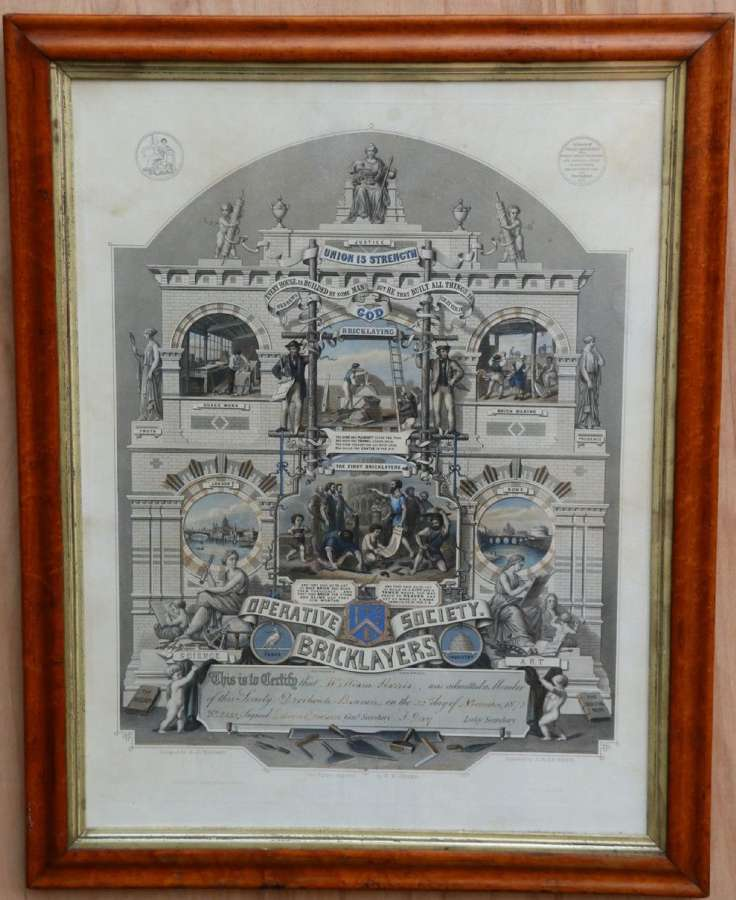"""A Rare Victorian Original Framed Master Builders """" Society Of Bricklayers"""" Certificate"""