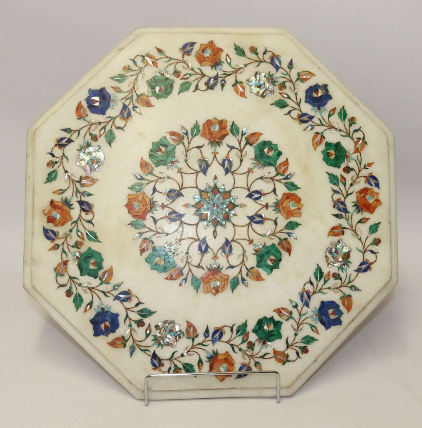 Indian White Marble Table Top Inlaid With Semi Precious Cut Stones, C 1900