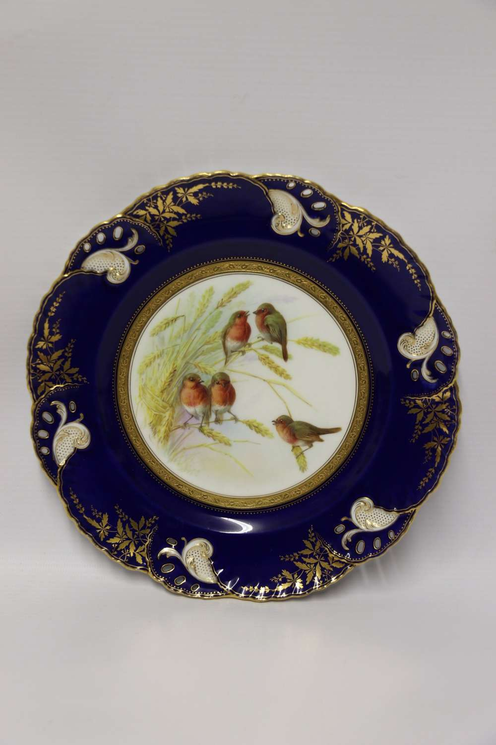 A Charming Victorian Minton's Porcelain Cabinet Plate Hand Painted With Robins