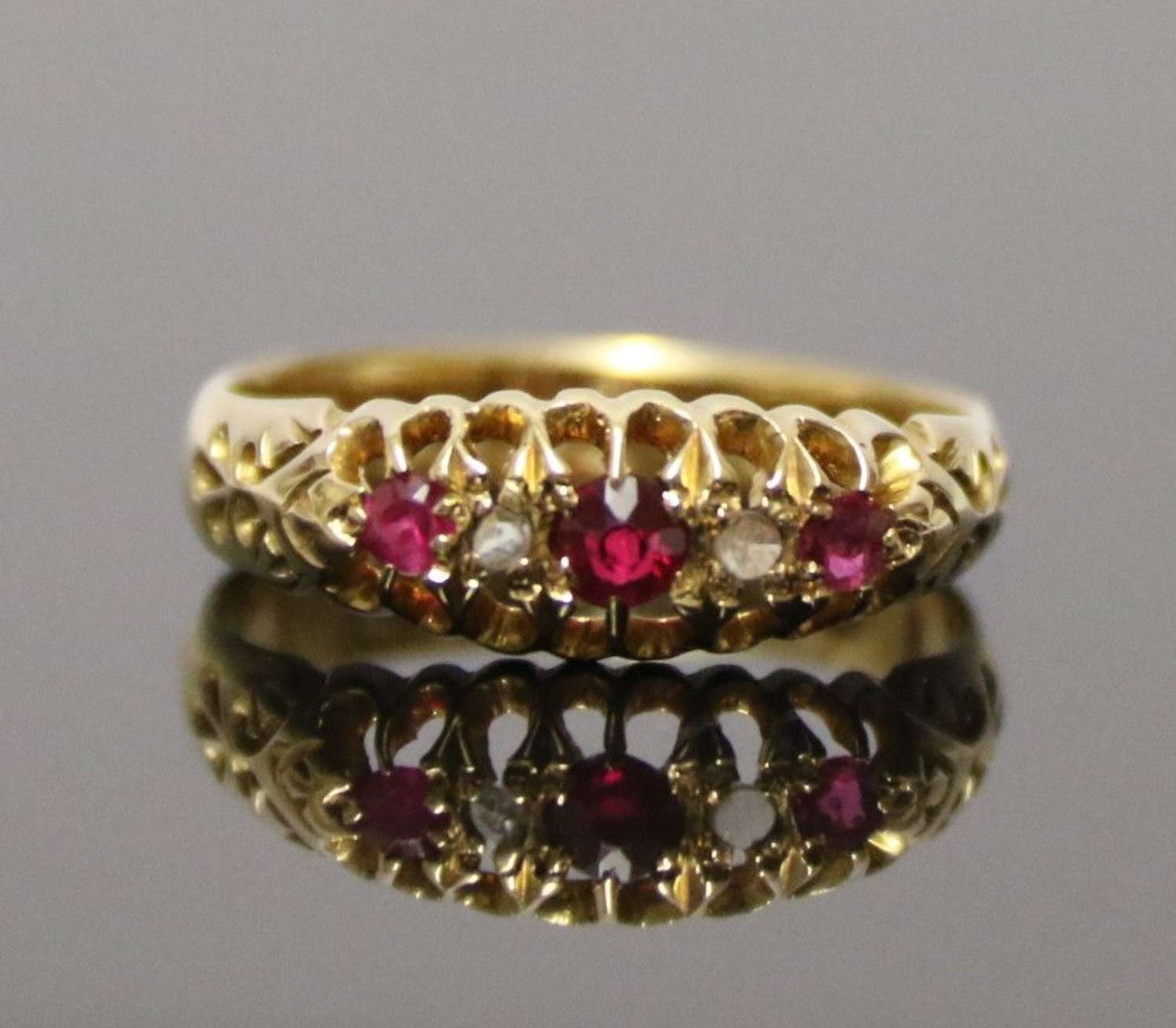 A Superb 18 Ct. Ruby And Diamond Edwardian Ring.