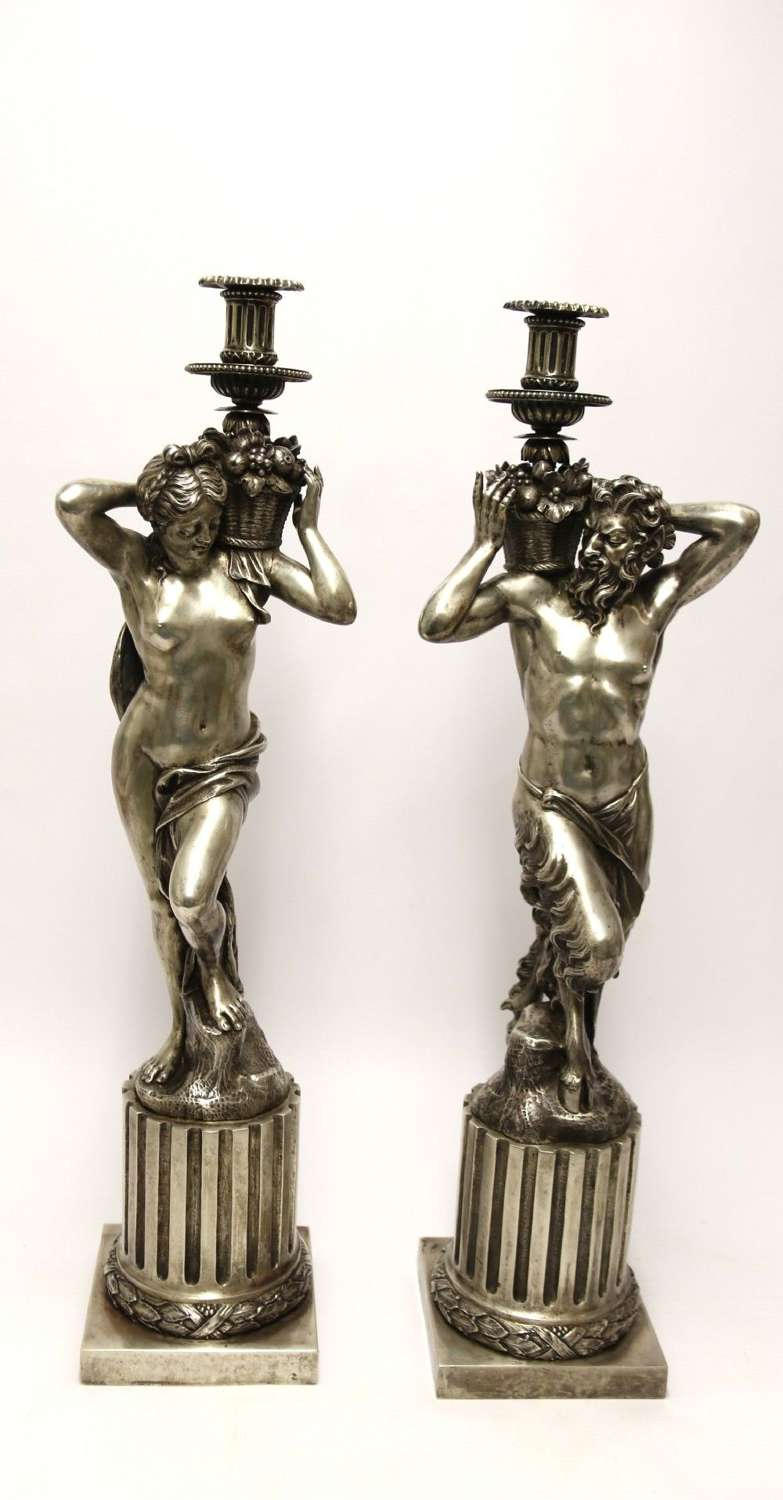 A Large Pair Of  19th C Silvered Bronze Classical Figurative Candlesticks