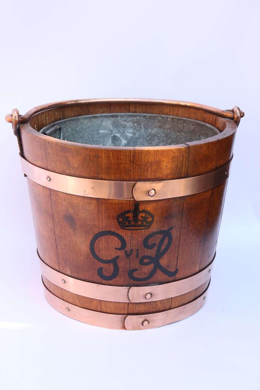 A Rare George VI English Oak Bucket , Circa 1930