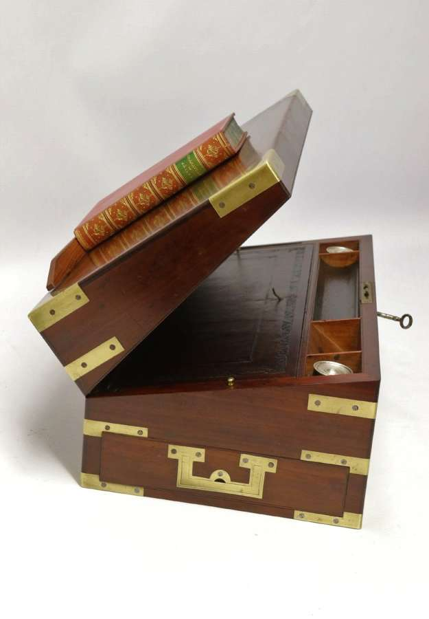 An English Early 19th C Brass Mounted Campaign Writing Box