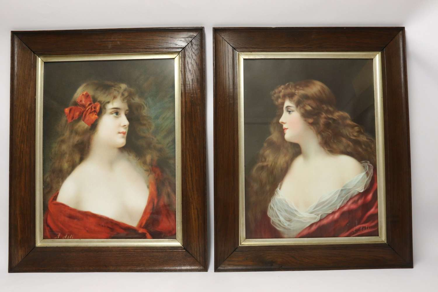 A Superb Pair Of Victorian Angelo Asti Prints Of A Glamorous Young Woman.