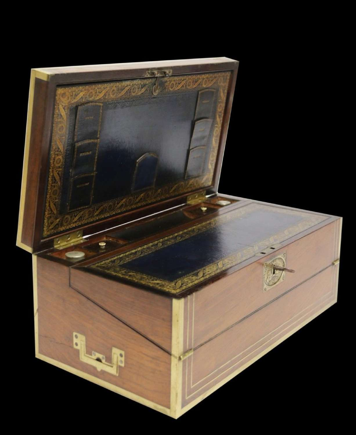 A Superb Early 19th C Gentleman's Brass Mounted Campaign Writing Box