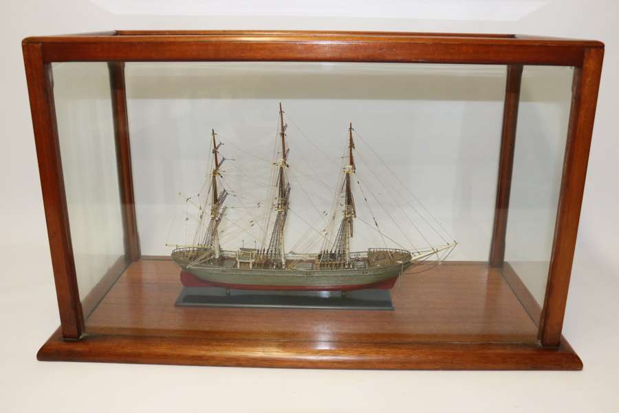 A Hand Modelled Ship In A Glass And Mahogany Case, C 1910