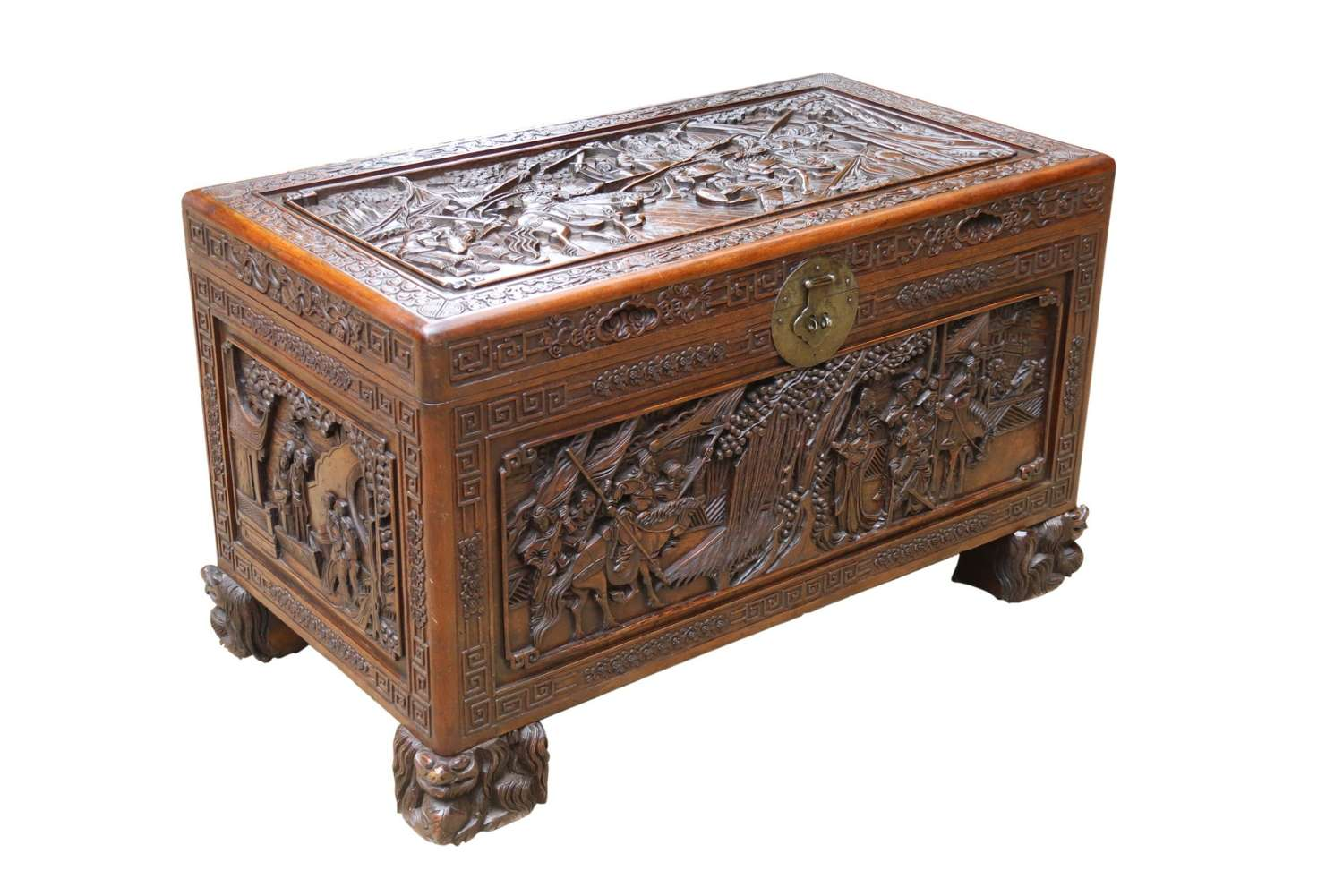 A Superb Chinese Carved Hardwood Chest/blanket Box