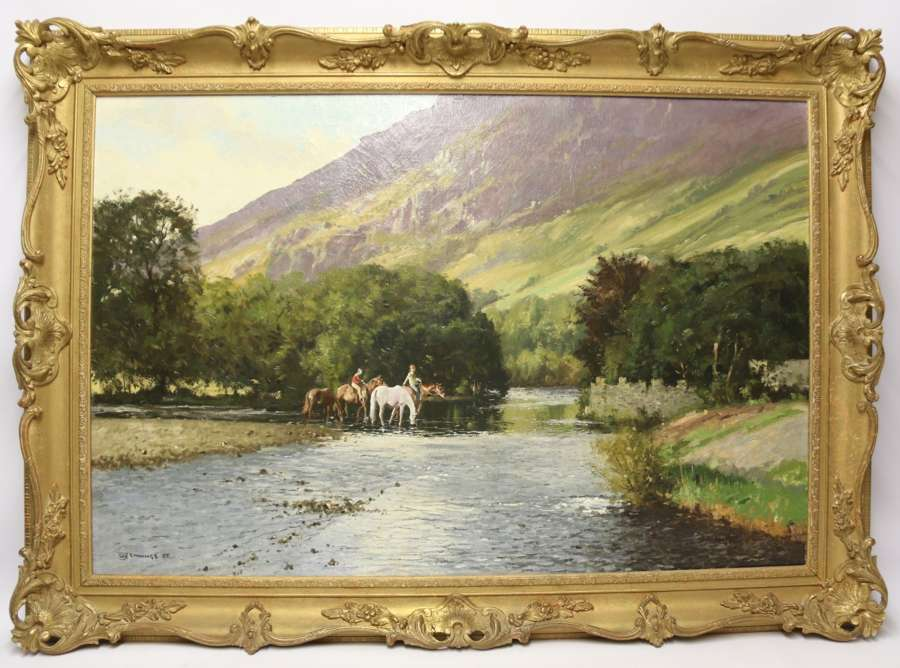 Oil On Canvas Lake District View Of The River Derwent By W R Jennings, 1969