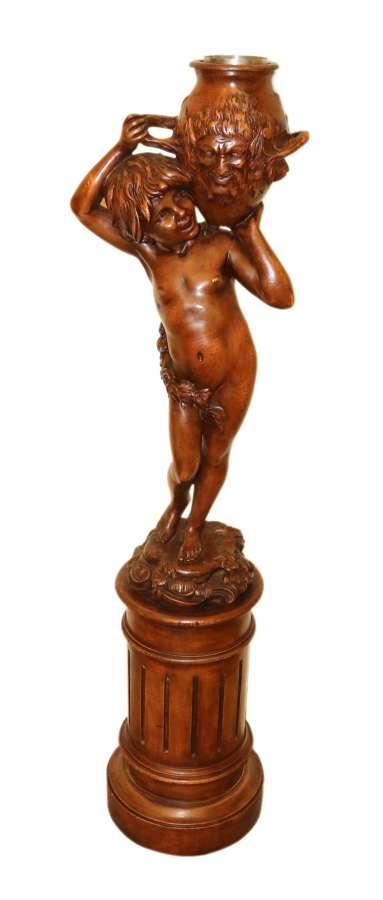 Antique 19 C Carved Study Of Semi Nude Mythical Boy Standing On A Fluted Pedestal