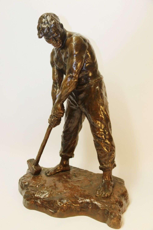 A Large Bronze Muscular Figure By Demanet, Circa 1920