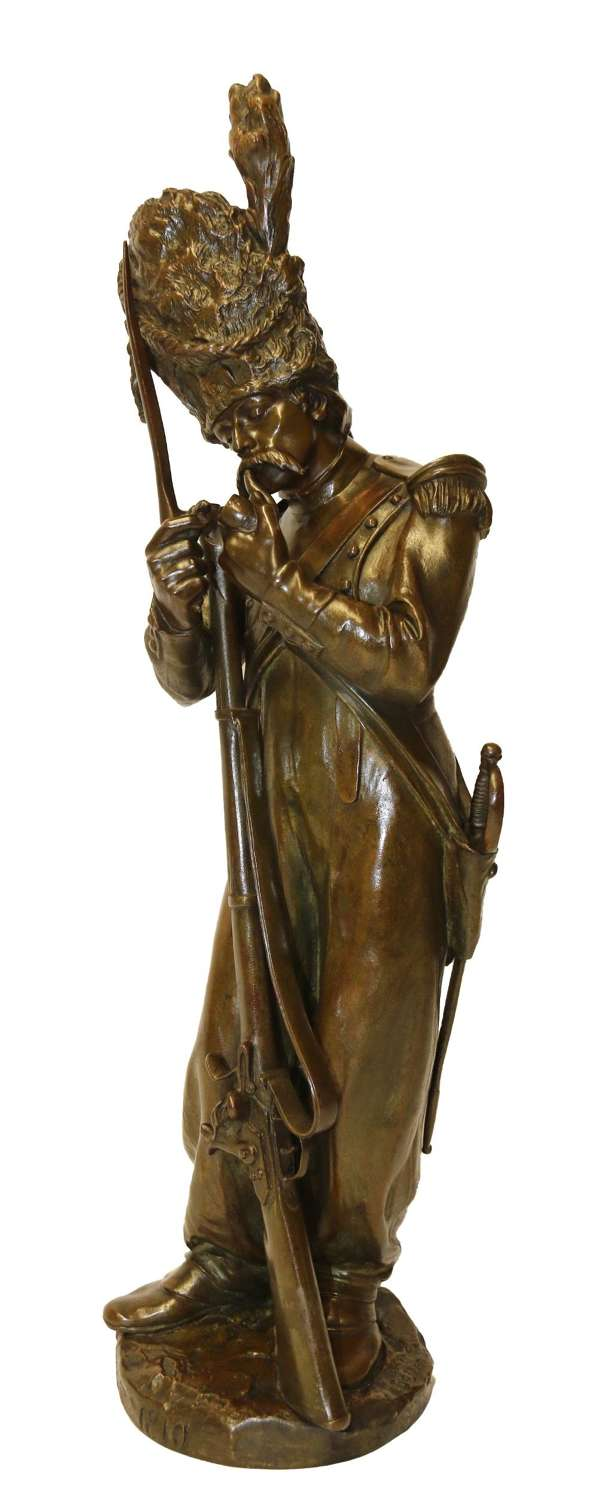 A Fine French Bronze Study Of A Napoleonic Soldier By Antoine Bofill.