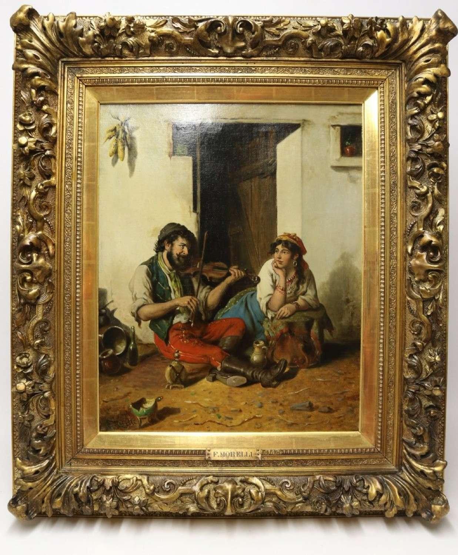 A Fine Mid 19th Century Italian Oil On Canvas, Signed F Morelli
