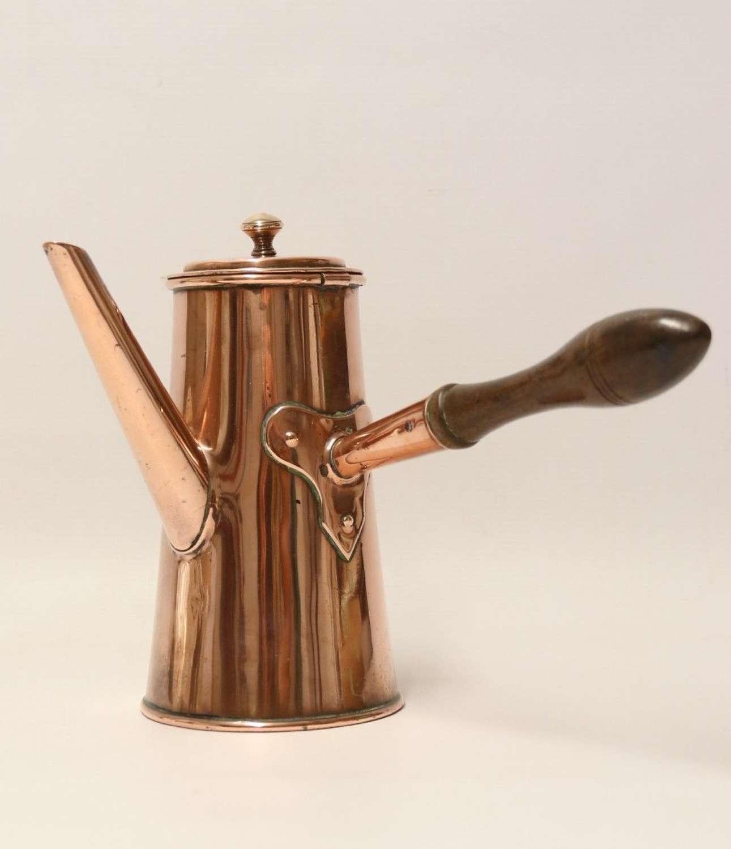 A Rare Georgian Copper Chocolate Pot