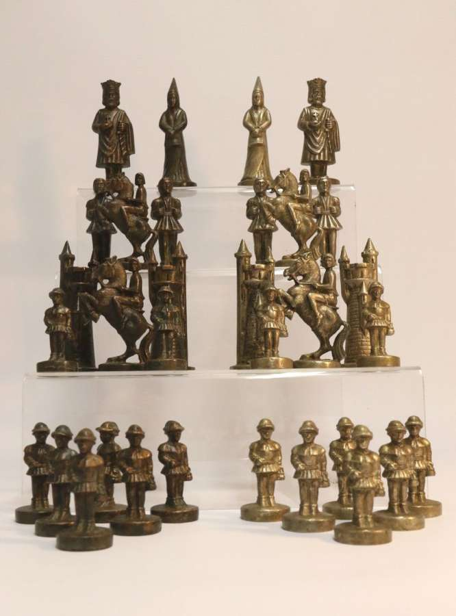 An Unusual Bronze And Nickel Chess Set
