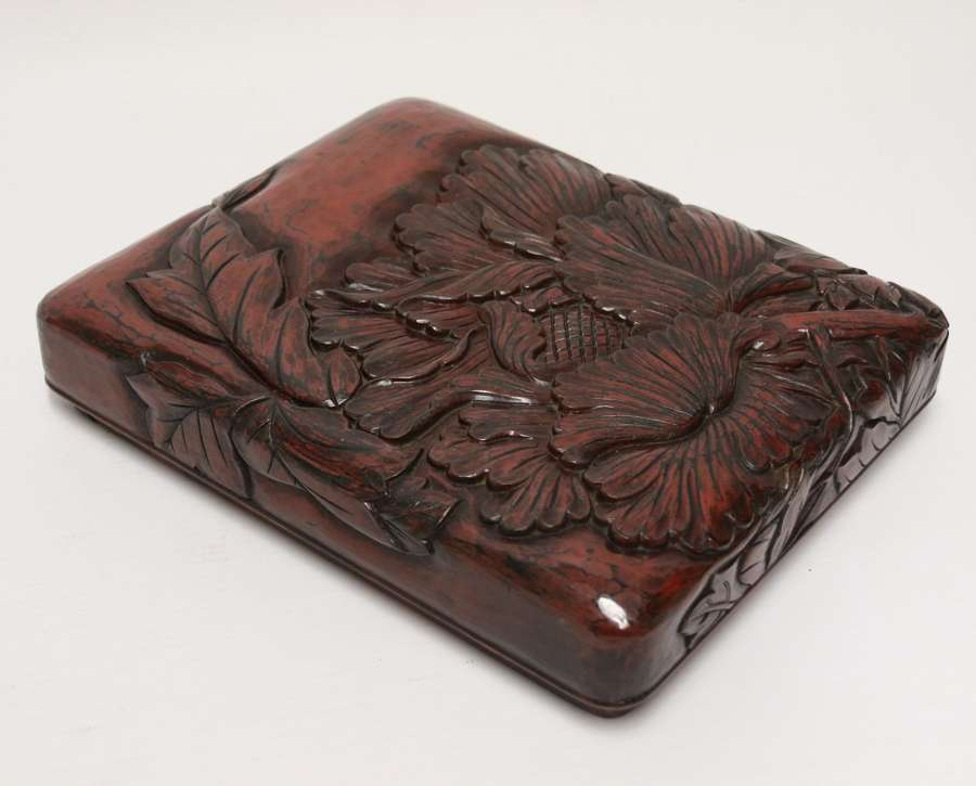 A Fine Japanese Early 20th C Carved And Lacquered Stationary Box