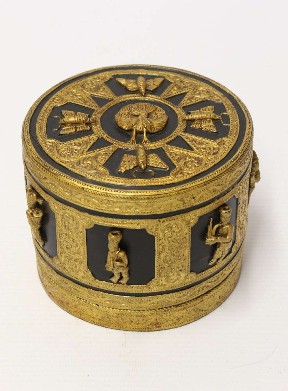 A Fine Indian Raj Period Gilt Papier Mache Box.
