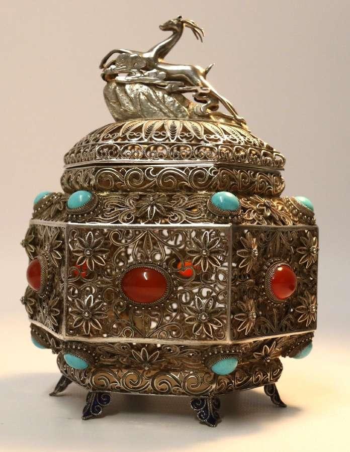An Indian Filigree Work Silver Censer