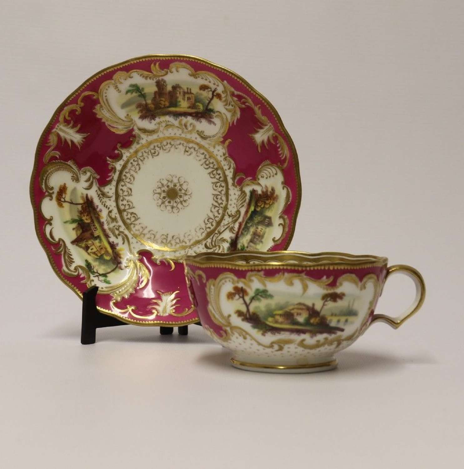 A Rare English Over Sized Early 19th Century Minton Breakfast Cup And Saucer.