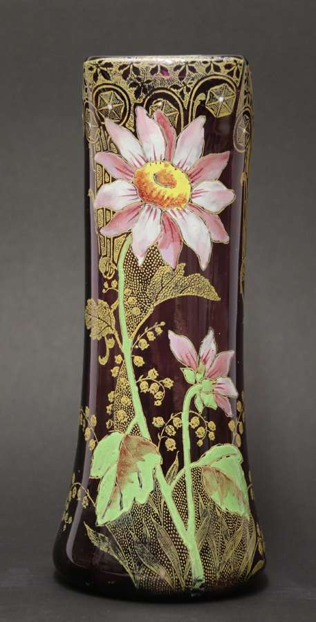 A Late 19th C French Enameled  Glass Vase Attributed To Legras