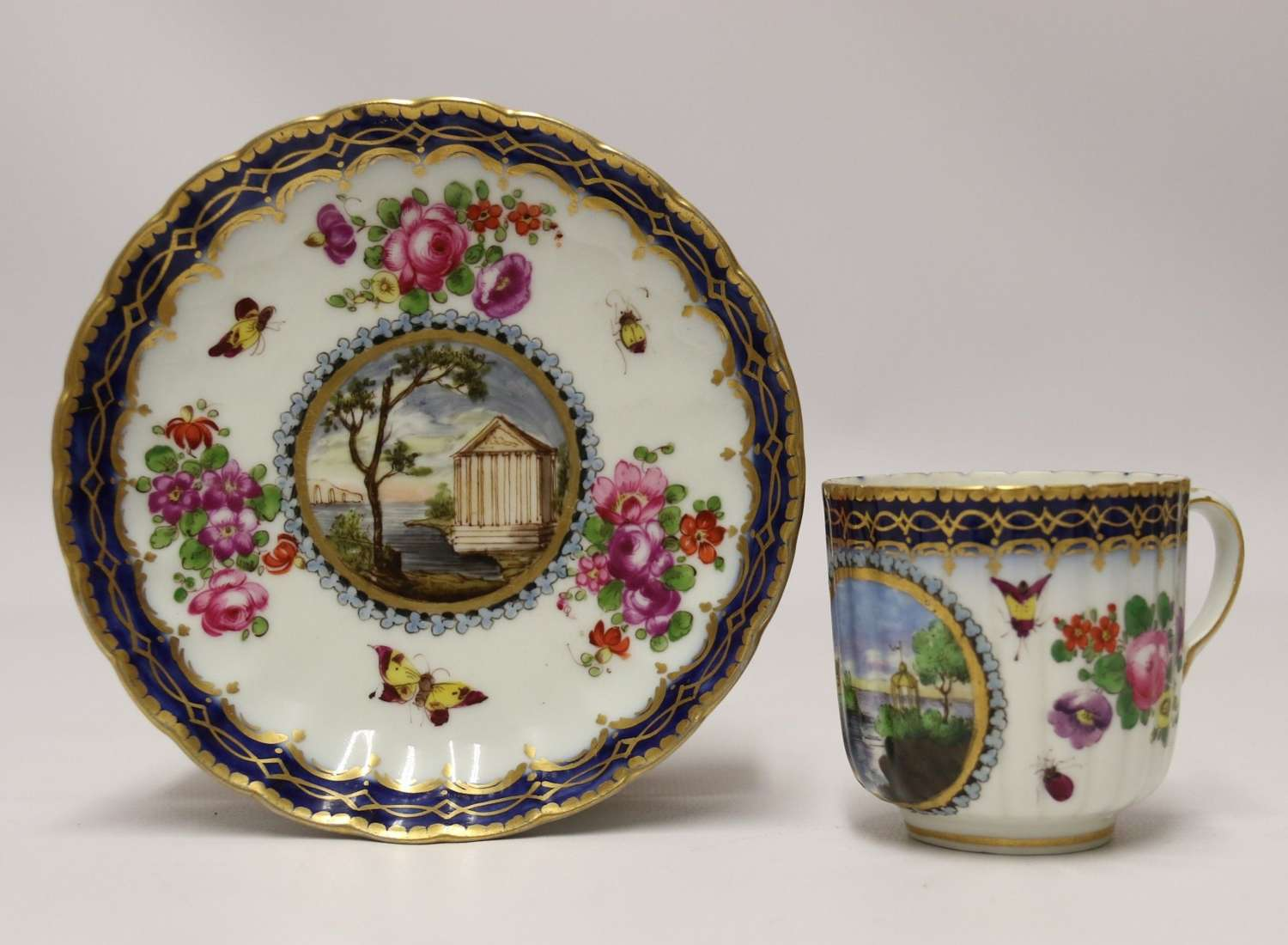 A Lord Henry Thynne First Period Worcester Coffee Can And Saucer By Samson C 1875