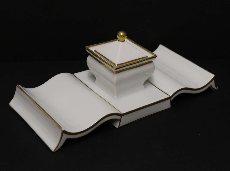 A Stylish Art Deco Porcelain Desk Inkstand
